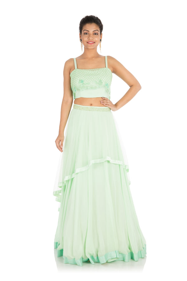 Hand Embroidered Mint Green Lehenga Set