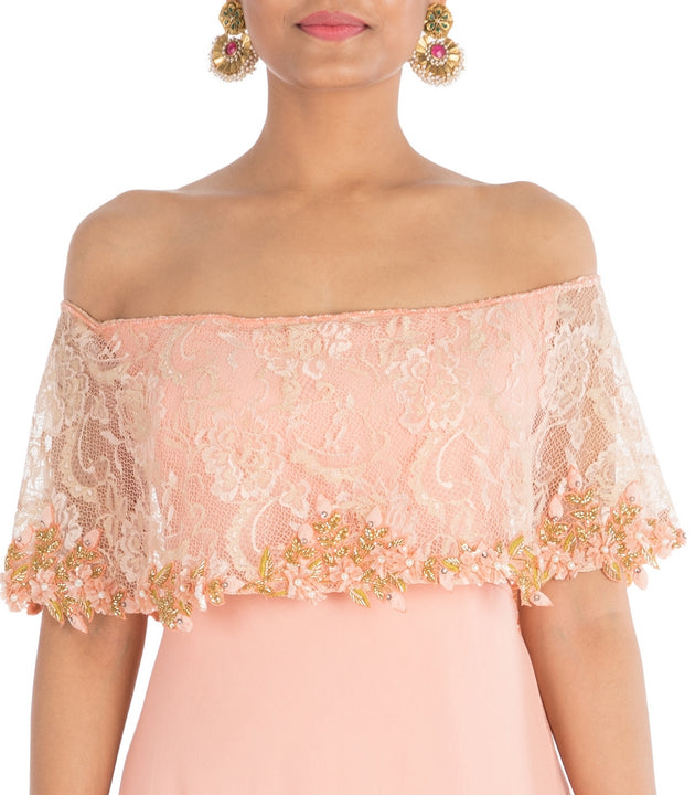 Hand Embroidered Blush Peach Off-Shoulder Dress