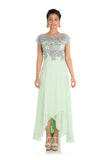 Hand Embroidered Light Green Asymmetrical Dress