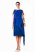 Blue Hand Embroidered Layered Knee Length Dress