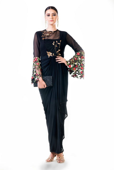 Black Embroidered Bell Sleeves Draped Dress