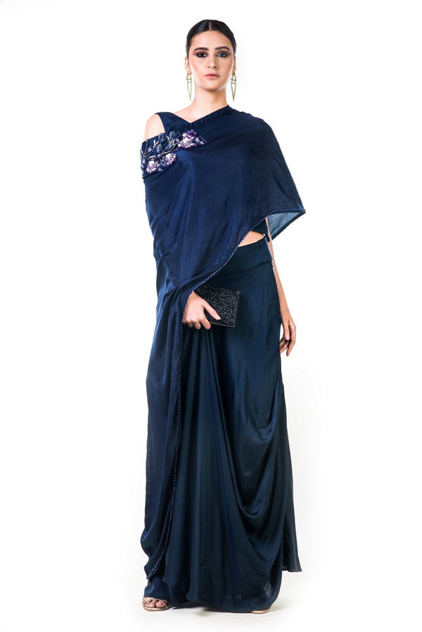 Midnight Blue Draped Gown With A Hand Embroidered Cape Dupatta