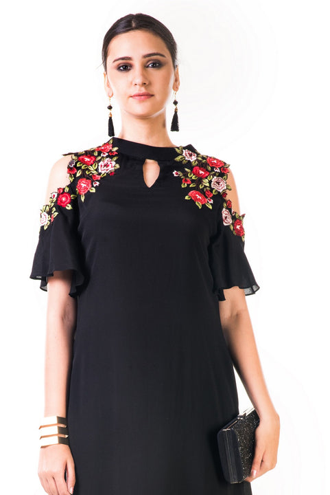 Black Asymmetrical Hand Embroidered Cold Shoulder Dress
