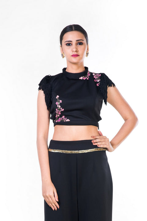 Black Fringe Sleeveless Crop Top With Floral Embroidery & Black Palazzo Pant