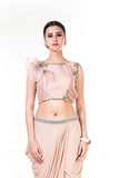 Embroidered Light Brown Frill Crop Top & Draped Skirt Set