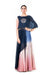 Hand Embroidered Navy Blue & Pink Crop Top With An Attached Long Cape & A Shaded Palazzo