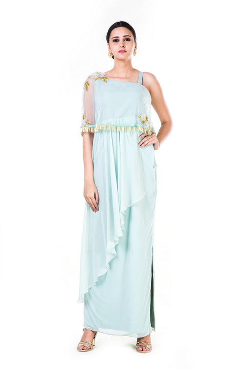 Blush Green Single Shoulder Cape Fringe Work Gown