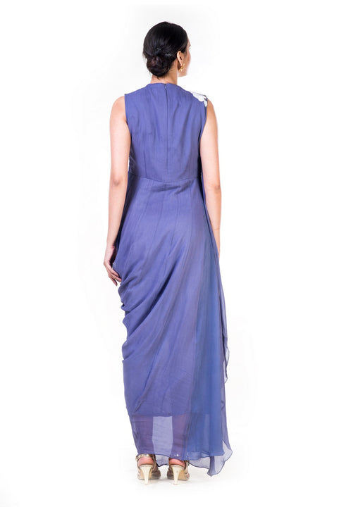 Embroidered Lavender Draped Gown With A Sequin Yoke