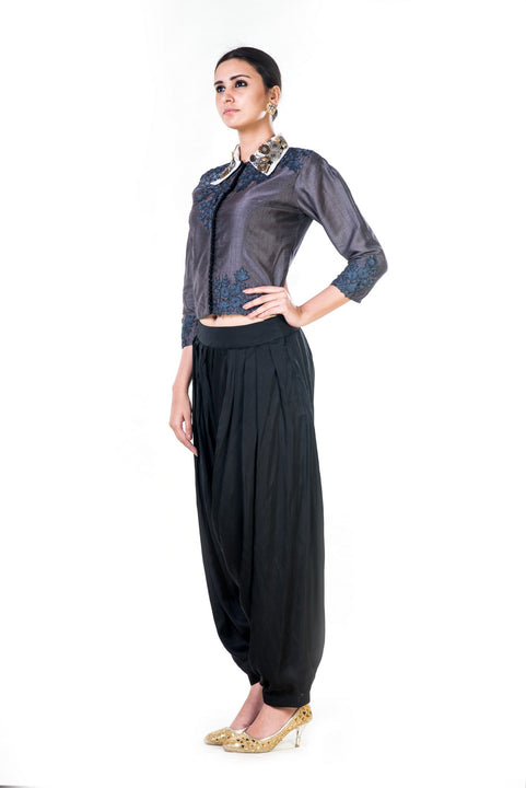 Embroidered Charcoal Grey Shirt & Black Harrem Pant