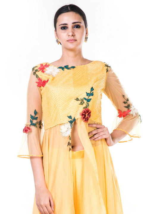 Embroidered Yellow Jacket Style Blouse & Palazzo Set