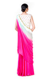 Hand Embroidered White Crop Top With A Pink Palazzo & Green & Pink Shaded Dupatta