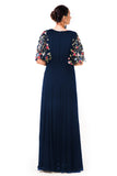 Midnight Blue Hand Embroidered Cape Style Gown