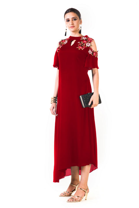 Maroon Asymmetrical Hand Embroidered Cold Shoulder Dress