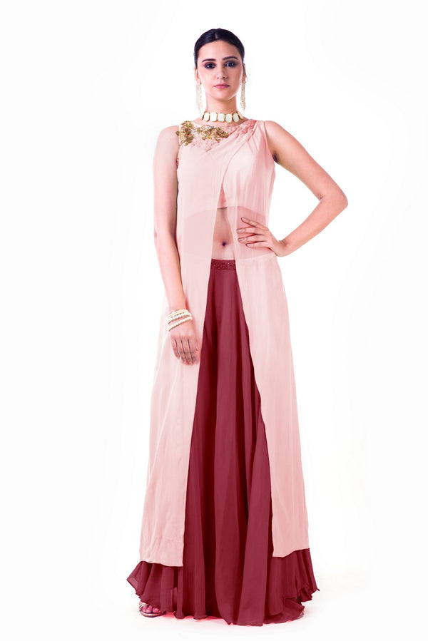 Embroidered Blush Pink Overlapped Crop Top With Maroon Palazzo Pant