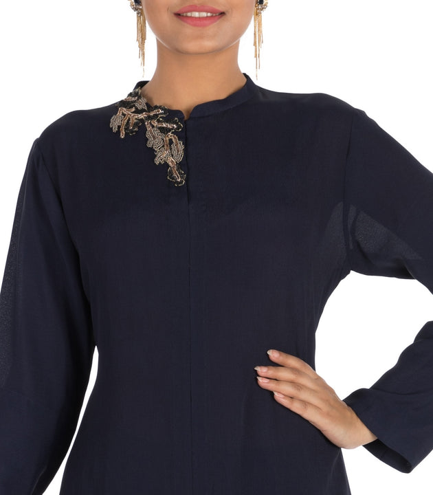 Hand Embroidered Midnight Blue Tunic