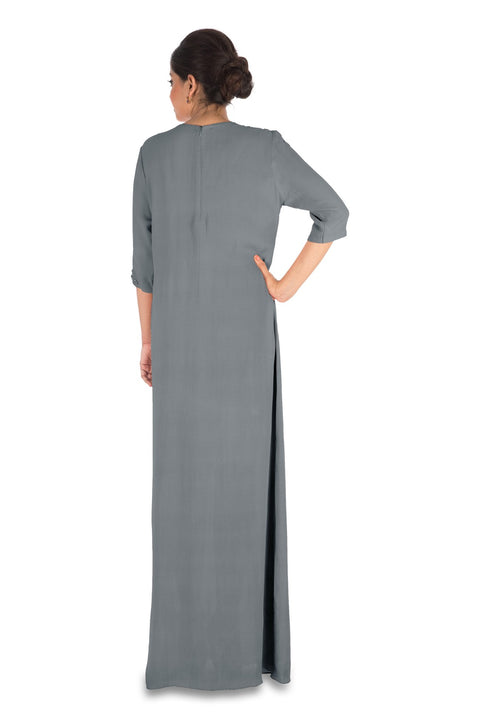 Hand Embroidered Charcoal Grey Long Tunic With Front Slits