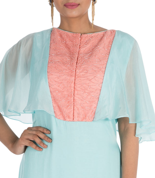 Hand Embroidered Aqua Blue Tunic With Cape Sleeves