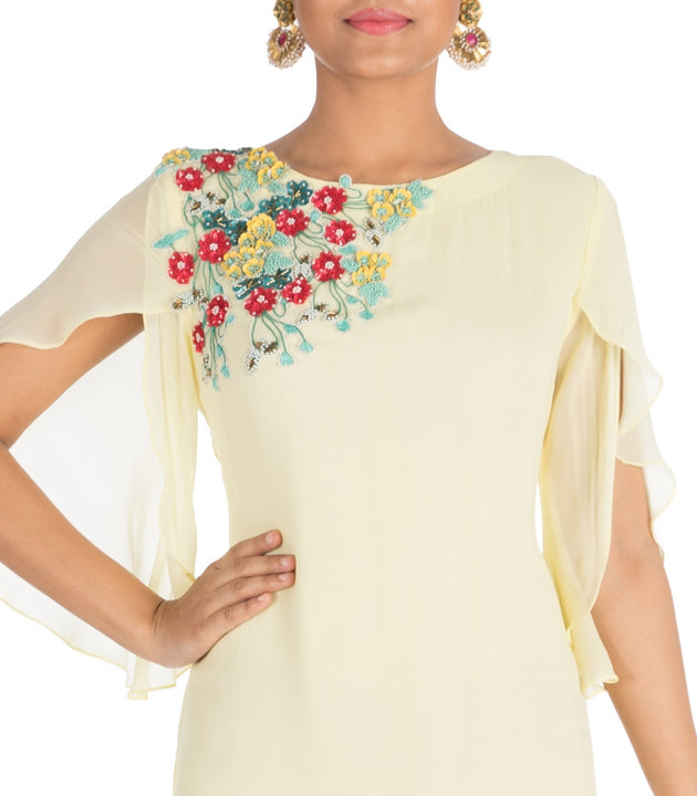 Hand Embroidered Powder Yellow Tunic With Tulip Sleeves