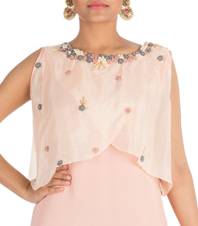 Hand Embroidered Powder Peach Tunic With Overlaped Cape
