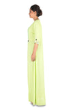 Hand Embroidered Parrot Green Long Tunic With Front Slits