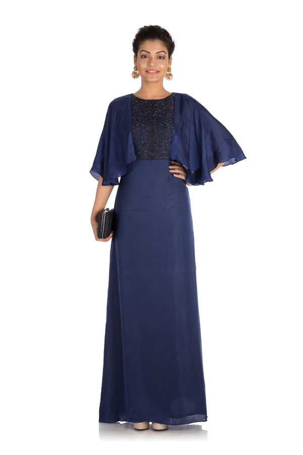 Hand Embroidered Midnight Blue Tunic With Cape Sleeves