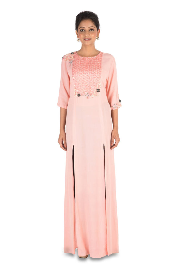 Hand Embroidered Pale Pink Long Tunic With Front Slits