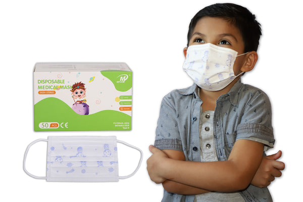 Kids Disposable 3 Ply Face Mask 50 Pcs (Pack) Medical Grade Non Woven 3-PLY BFE 98%
