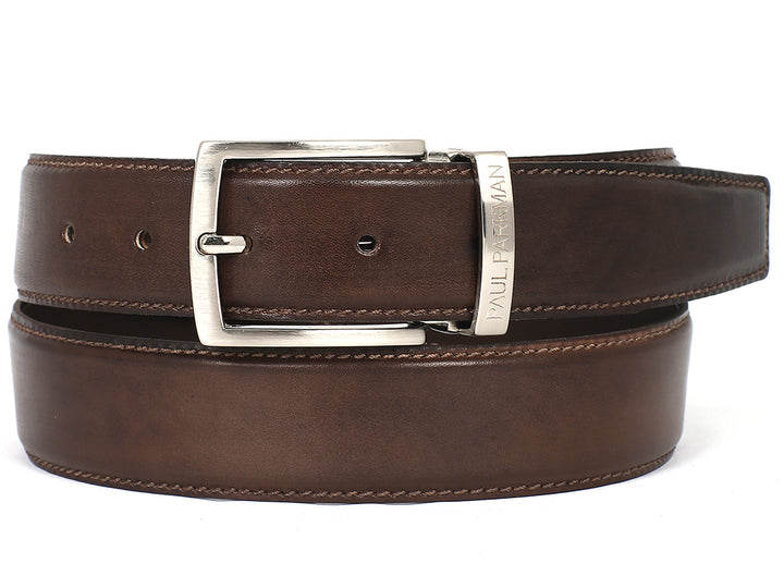 PAUL PARKMAN Men's Leather Belt Hand-Painted Brown (ID#B01-ANTBRW) (L)