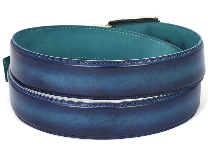 PAUL PARKMAN Men's Leather Belt Dual Tone Blue & Turquoise (ID#B01-BLU-TRQ) (M)