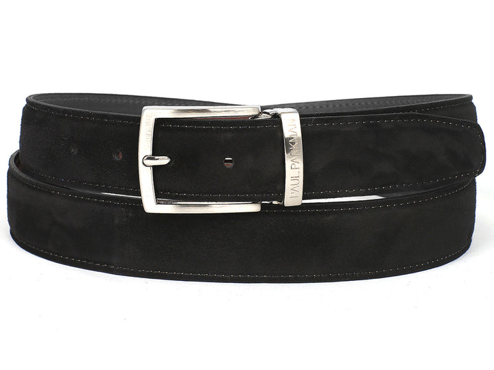 PAUL PARKMAN Men's Black Suede Belt (ID#B06-BLK) (S)