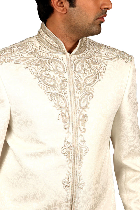 Elegant White Indian Wedding Sherwani For Men