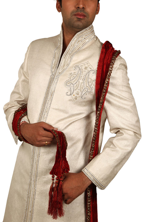 Charming Indian Wedding Fog Colour Sherwani For Men