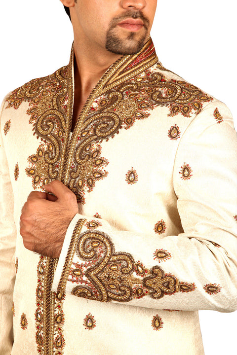 Marvelous Indian Wedding Cream Sherwani For Men