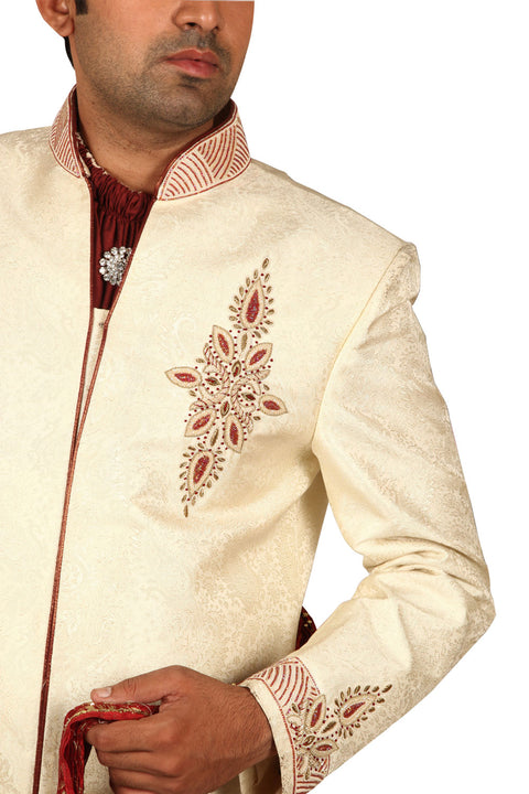 Exquisite Indian Wedding Cream Sherwani For Men