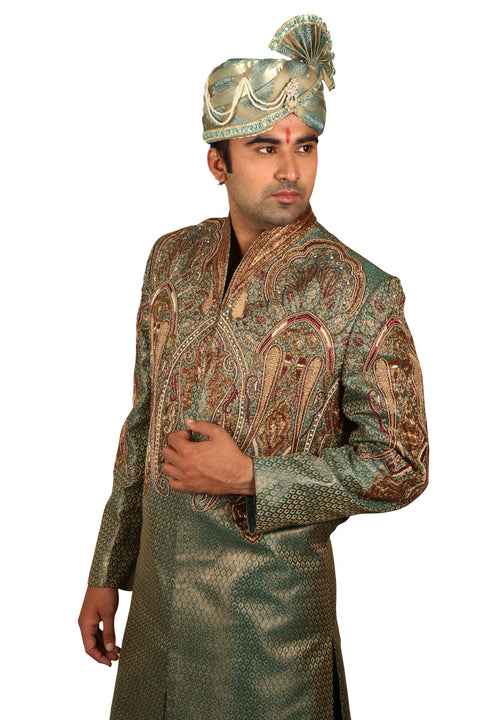 Fancy Indian Wedding Emerald Green Sherwani For Men
