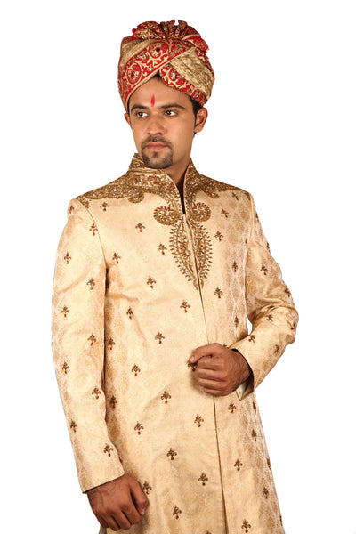 Beautiful Indian Wedding Groom Gold Sherwani For Men