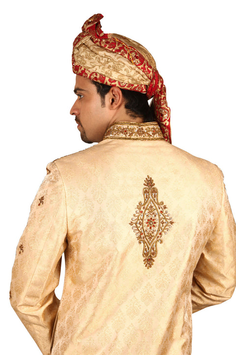 Beautiful Indian Wedding Groom Gold Sherwani For Men BL2041SNT