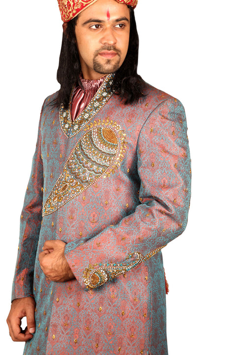 Exclusive Designer Indian Wedding Salmon Sherwani For Men