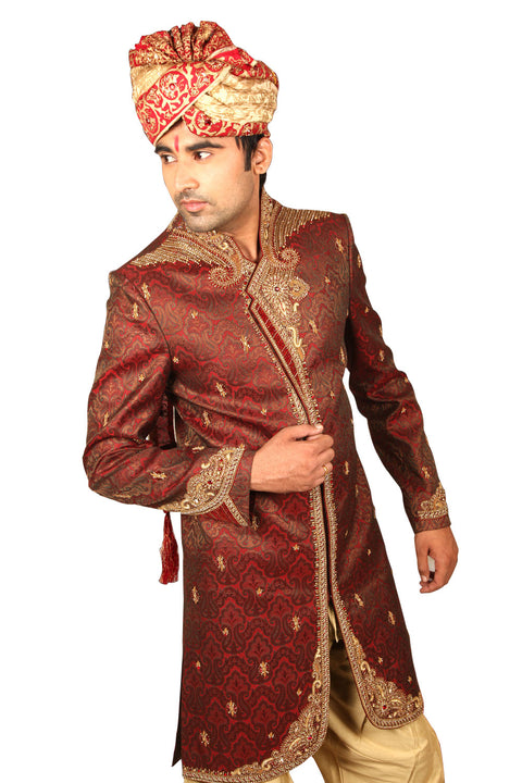 Magnificent Indian Wedding Maroon Sherwani For Men