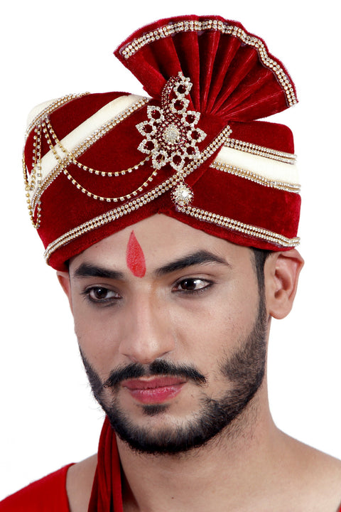 Ready-made Maroon and Cream Wedding Safa Turban