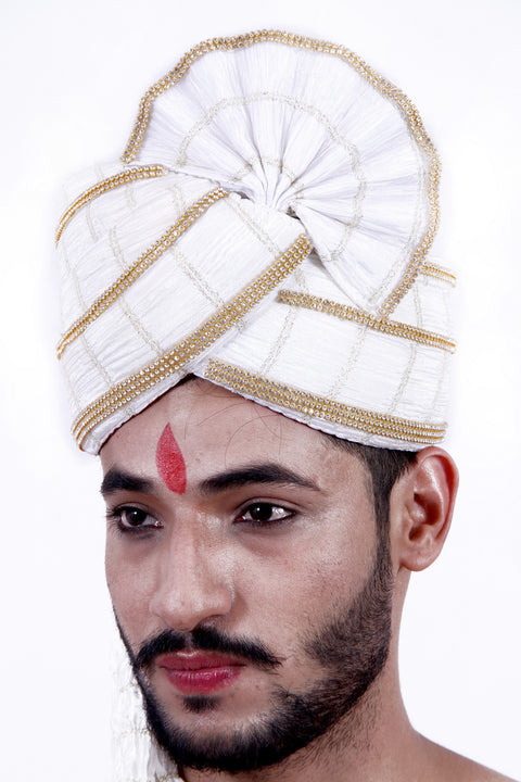 Ready-made White Wedding Safa Turban