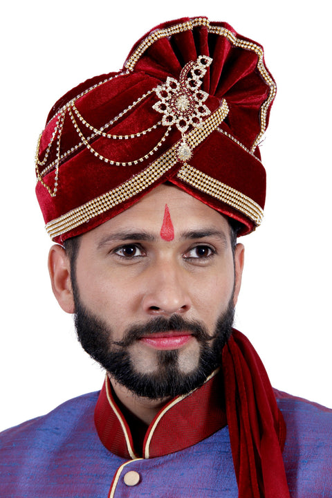 Ready-made Red Velvet Wedding Safa Turban