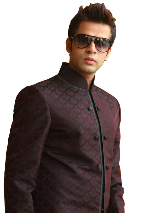 Nehru Style Wine Indo-Western Indian Sherwani Kurta for Men