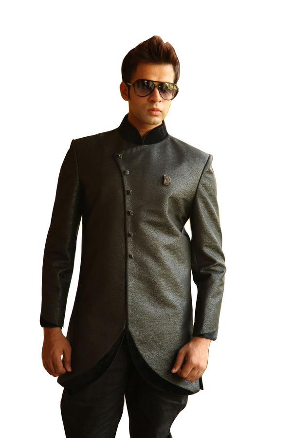 Elegant Black Indo-Western Indian Sherwani Kurta for Men