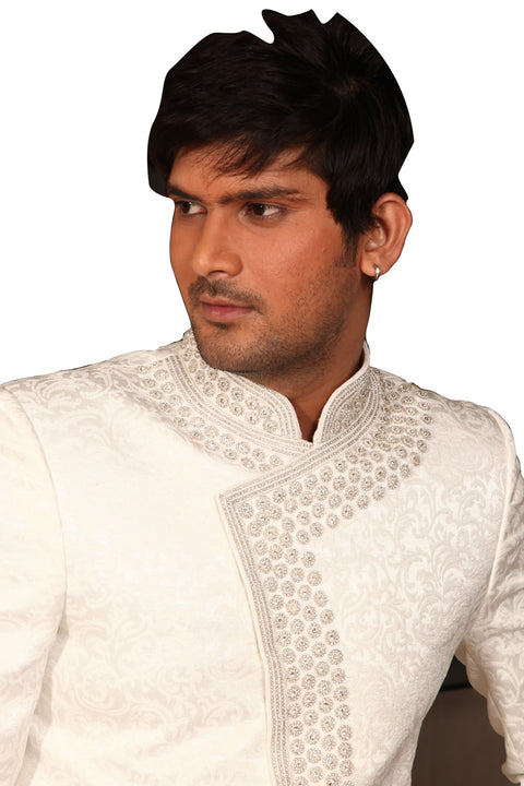Saris and Things Sparkling White Indo-Western Sherwani for Men BL1007SNT