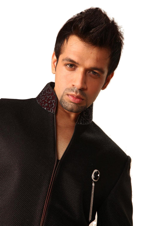 Saris and Things Classy Black Indo-Western Sherwani for Men BL1008SNT
