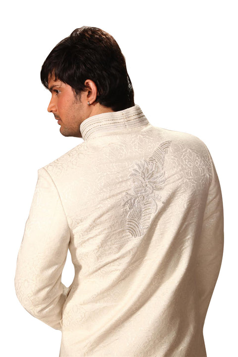Saris and Things Highneck White Indo-Western Sherwani for Men BL1009SNT