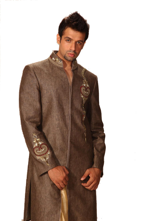 Saris and Things Linen Fabric Indo-Western Sherwani for Men BL1010SNT