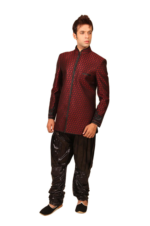 Modern Maroon Indowestern Sherwani for Men