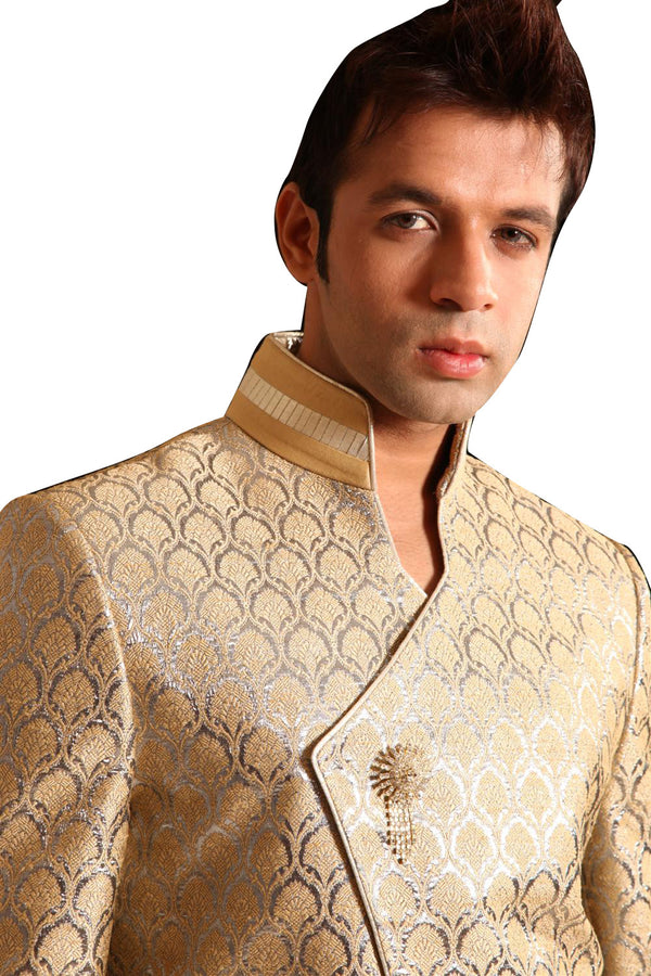 Gold With Silver Indo-Western Sherwani for Men